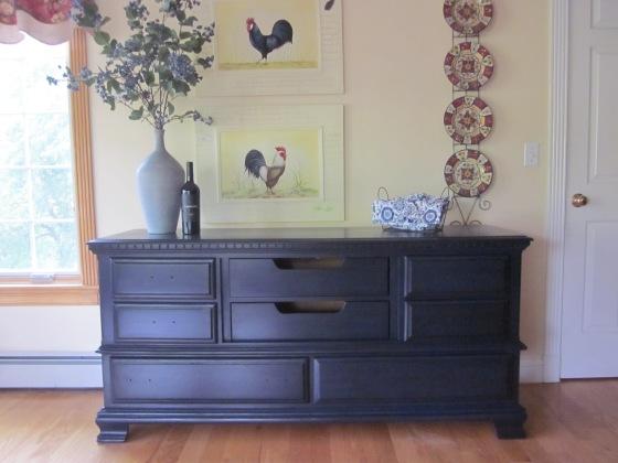 EntriWays.com: Dresser Turned Colonial Sideboard, Black Glaze Over Blue